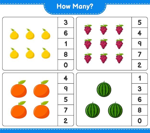 Jogo de contagem, quantas frutas. jogo educativo para crianças, planilha para impressão