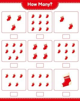 Jogo de contagem, quantas meias de natal. jogo educativo para crianças, planilha para impressão, ilustração