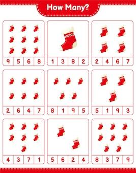 Jogo de contagem, quantas meias de natal. jogo educativo para crianças, planilha para impressão