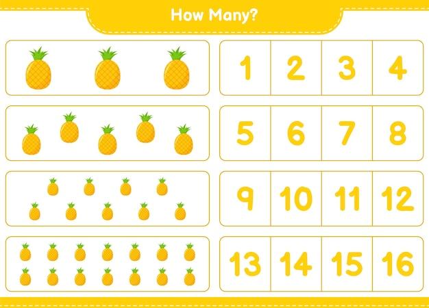Jogo de contagem, quantos abacaxi. jogo educativo para crianças, planilha para impressão