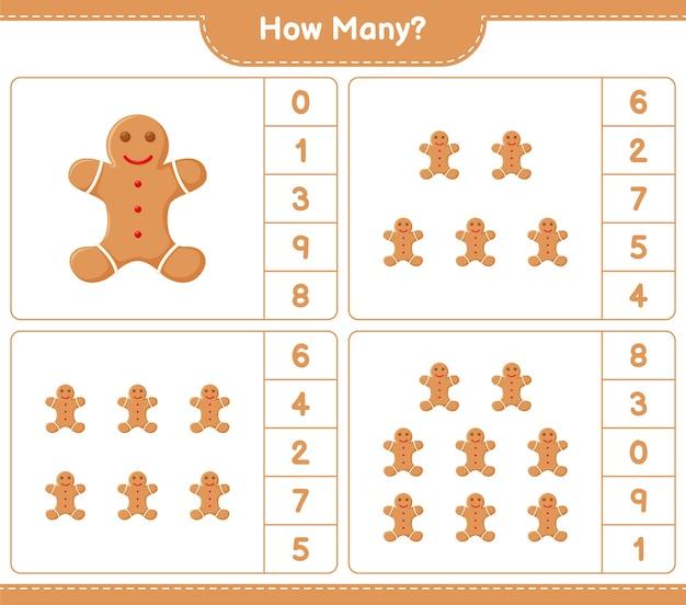 Jogo de contagem, quantos gingerbread man. jogo educativo para crianças, planilha para impressão,