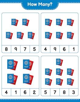 Jogo de contagem, quantos passaportes. jogo educativo para crianças, planilha para impressão