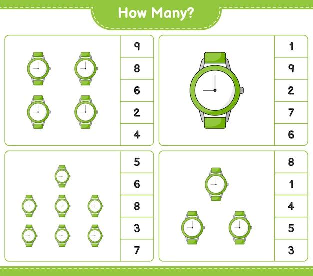 Jogo de contagem, quantos relógios. jogo educativo para crianças, planilha para impressão