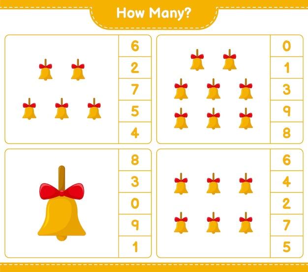 Jogo de contagem, quantos sinos de natal dourados. jogo educativo para crianças, planilha para impressão,
