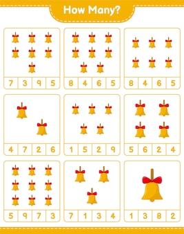 Jogo de contagem, quantos sinos de natal dourados. jogo educativo para crianças, planilha para impressão
