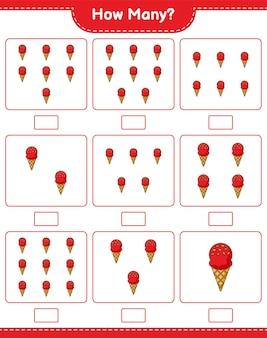 Jogo de contagem, quantos sorvetes. jogo educativo para crianças, planilha para impressão