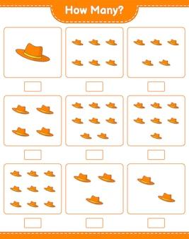 Jogo de contagem, quantos summer hat. jogo educativo para crianças, planilha para impressão