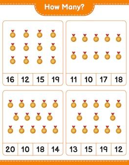 Jogo de contagem, quantos troféus. jogo educativo para crianças, planilha para impressão, ilustração vetorial