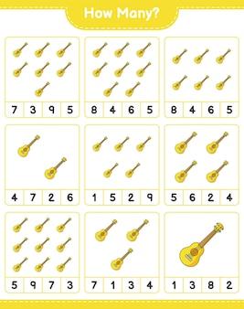 Jogo de contagem, quantos ukulele. jogo educativo para crianças, planilha para impressão