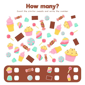Jogo de contar com doces diferentes