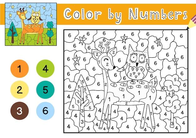 Jogo de cores por números para crianças página para colorir com um cervo bonito e uma coruja planilha para impressão com solução