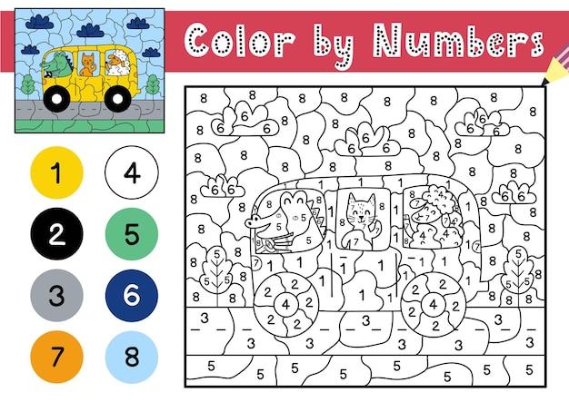 Jogo de cores por números para crianças página para colorir com um lindo gato de crocodilo e ovelhas dirigindo um ônibus planilha para impressão com solução para números escolares e pré-escolares.