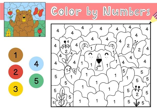 Jogo de cores por números para crianças página para colorir com um urso fofo e flores planilha para impressão com solução