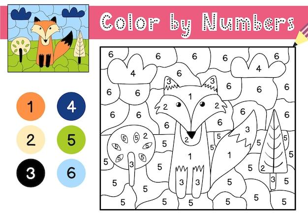 Jogo de cores por números para crianças página para colorir com uma raposa fofa na floresta planilha para impressão com solução