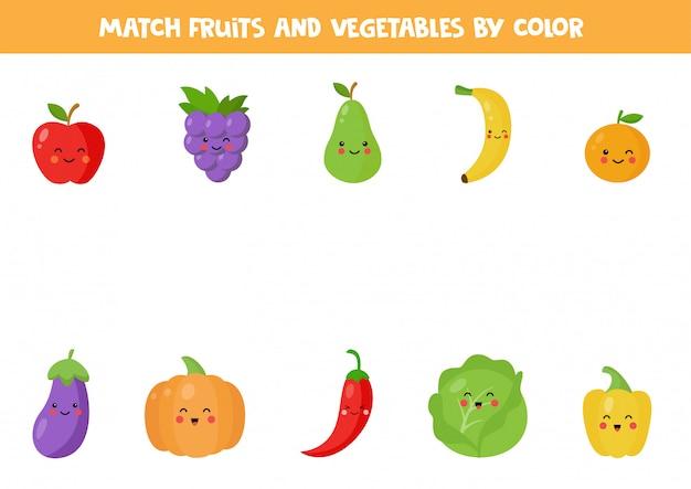 Jogo de correspondência de cores com frutas e legumes fofos kawaii.