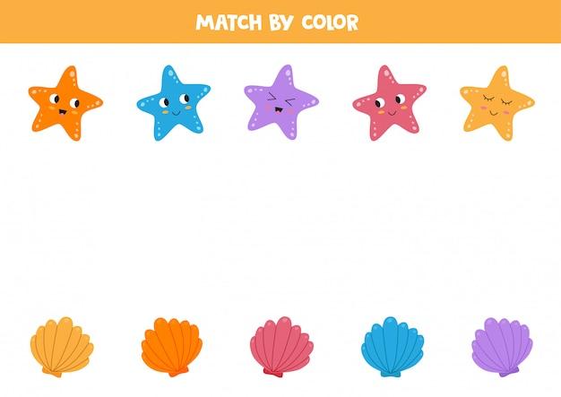 Jogo de correspondência de cores para crianças. conchas e estrelas do mar.