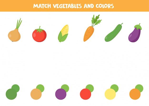 Jogo de correspondência de cores para crianças. conjunto de vegetais dos desenhos animados.