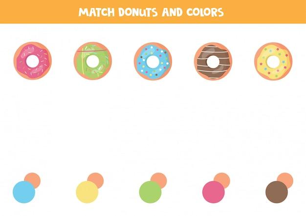 Jogo de correspondência de cores para crianças. rosquinhas de bonito dos desenhos animados. Vetor Premium