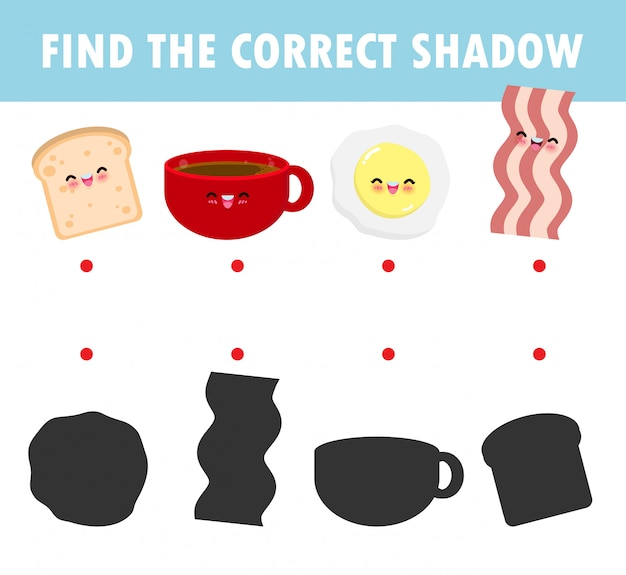 Jogo de correspondência de sombra para crianças, jogo visual para crianças. ligue a imagem de pontos, copo de café pequeno-almoço feliz bonito dos desenhos animados, ovo, torrada, bacon, educação isolada no fundo ilustração