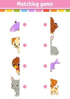 Jogo de correspondência. desenhe uma linha. planilha de desenvolvimento de educação. página de atividade com imagens coloridas. enigma para crianças.