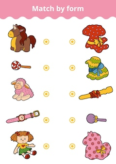 Jogo de correspondência, jogo de educação vetorial para crianças. conecte brinquedos e presentes femininos por forma