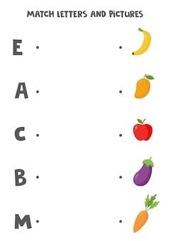 Jogo de correspondência para crianças. conecte a imagem e a letra com que começa. planilha do alfabeto educacional para crianças. frutas e vegetais dos desenhos animados.