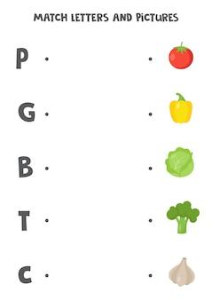 Jogo de correspondência para crianças. conecte a imagem e a letra com que começa. planilha do alfabeto educacional para crianças. legumes de desenhos animados.
