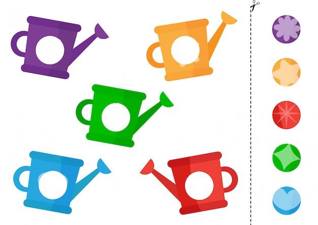 Jogo de correspondência para crianças. conjunto de regadores coloridos.