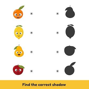 Jogo de correspondência para crianças em idade pré-escolar e do jardim de infância. encontre a sombra correta. frutas bonitas.