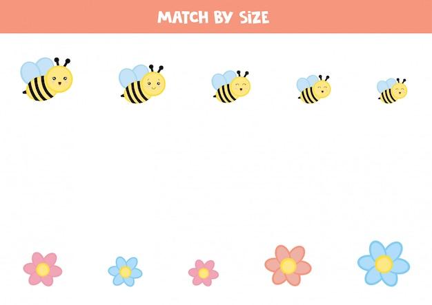 Jogo de correspondência para crianças pré-escolares. abelhas e flores.