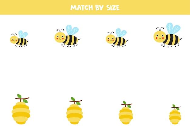 Jogo de correspondência para crianças pré-escolares. combine as abelhas e as colmeias por tamanho.
