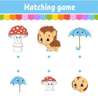Jogo de correspondência para ilustração infantil