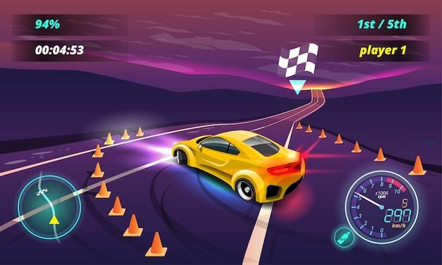 Jogo de corrida de carros no menu de exibição