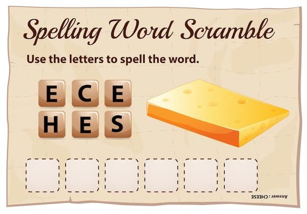 Jogo de corrida de palavra ortografia com queijo de palavra