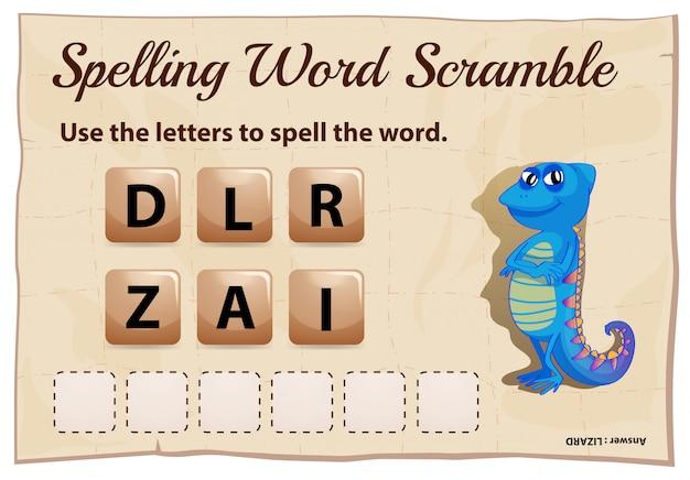 Jogo de corrida de palavras com ortografia com lagarto de palavras