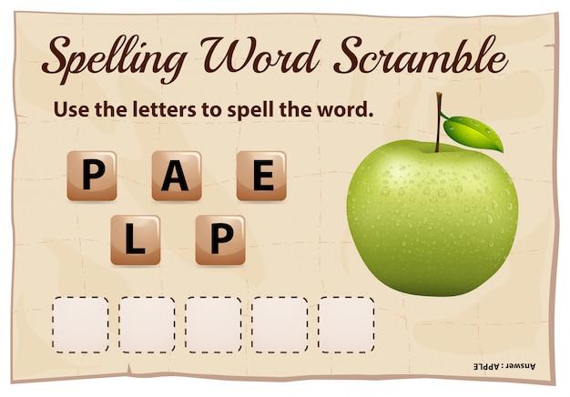 Jogo de corrida de palavras com ortografia com maçã verde