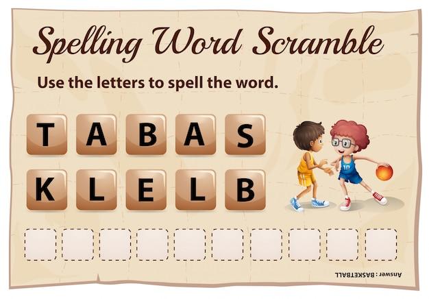 Jogo de corrida de palavras com ortografia com palavra basquete