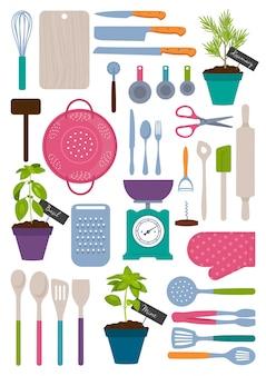 Jogo, de, cozinha, ferramentas