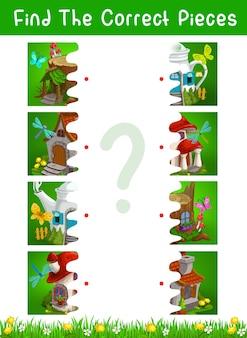 Jogo de crianças de meia peça com modelo de vetor de casas e moradias de contos de fadas. conecte imagens, jogo educacional, quebra-cabeça, enigma ou teste de atenção, labirinto lógico com bota, toco de árvore, bule, casas de cogumelos