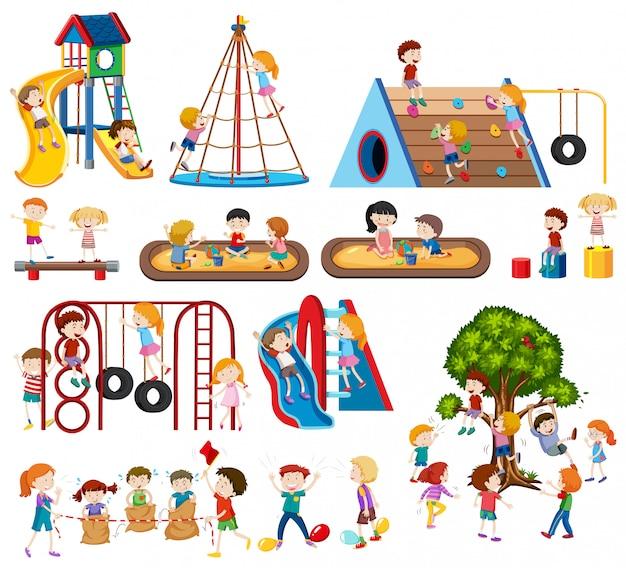 Jogo, de, crianças, em, pátio recreio