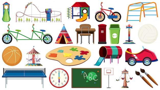 Jogo, de, crianças, pátio recreio, ferramenta