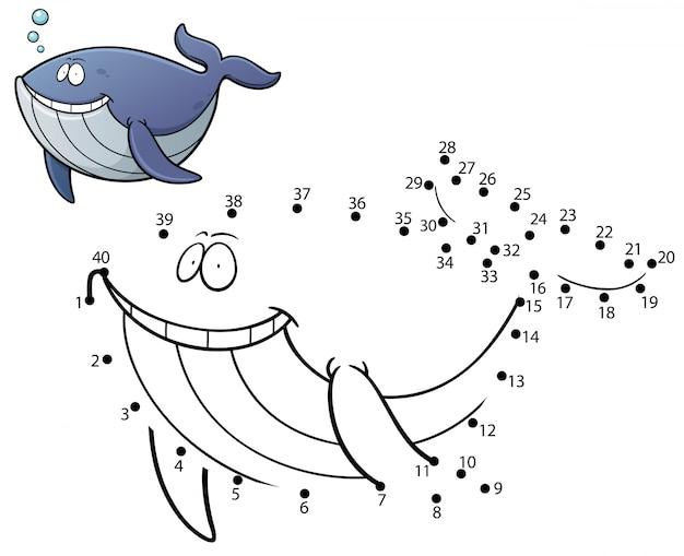 Jogo de crianças ponto a ponto baleia
