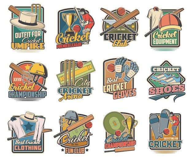 Jogo de críquete, equipamentos esportivos e estádio. bola de críquete, taco e capacete de uniforme de jogador, luvas e calçados com gramado verde. conjunto de emblemas retrô de clube esportivo e campeonato