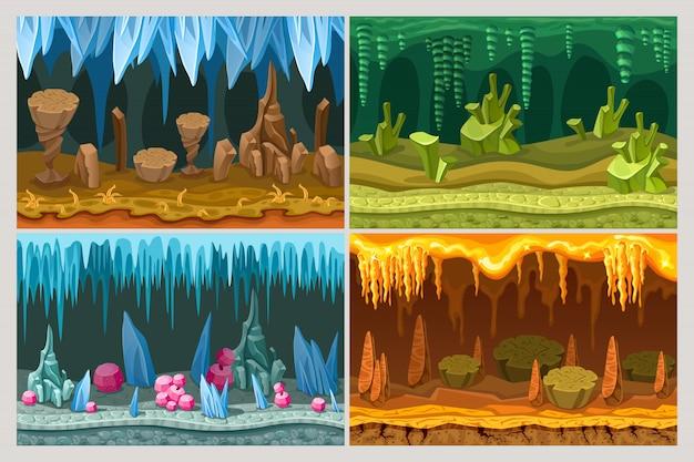 Jogo de desenho animado conjunto de paisagens de caverna