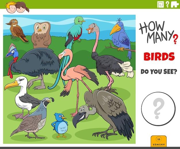 Jogo de desenho animado educacional de quantos pássaros para crianças