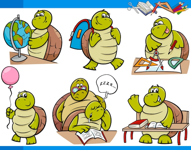 Jogo de desenho de estudante de personagem de tartaruga
