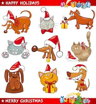 Jogo de desenhos animados de gatos e cachorros de natal
