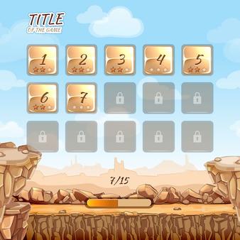 Jogo de deserto de pedras e pedras com interface de usuário em estilo cartoon. realidade virtual, jogo de aventura