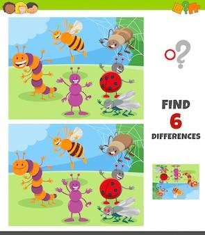 Jogo de diferenças com grupo de personagens animais de insetos