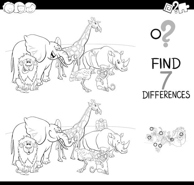 Jogo de diferenças com livro de cor de animais selvagens
